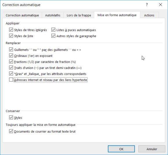 Word désactiver la fonction «Adresses Internet et réseau par des liens hypertexte