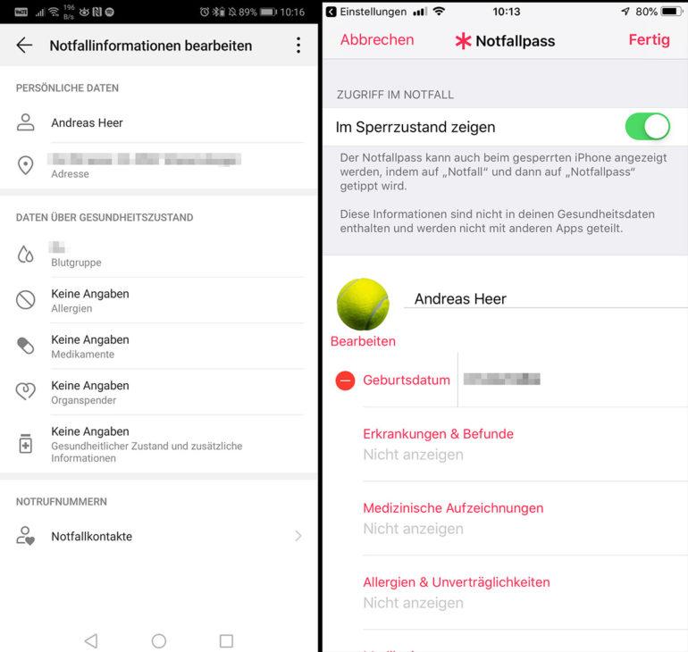 Notfallpass einrichten auf iPhone und Android-Smartphone