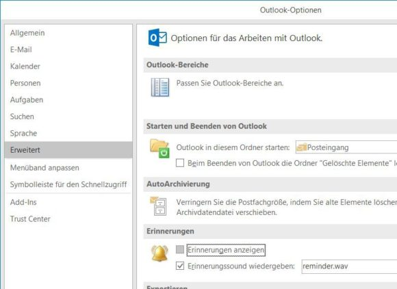 Terminerinnerungen in Outlook deaktivieren