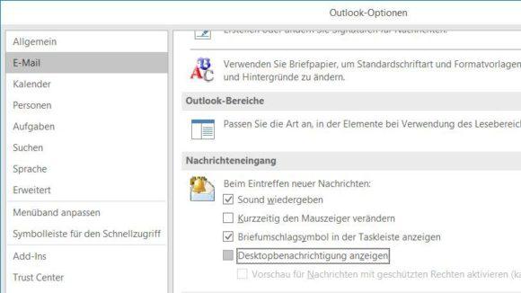 Désactiver les notifications d'e-mails Outlook