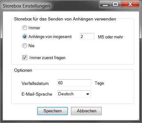 Storebox-Konfiguration