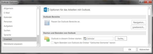 Ansicht nach dem Start von Outlook festlegen