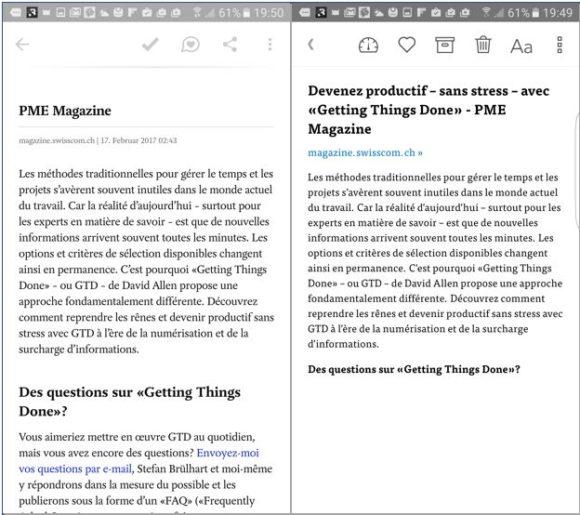 Pocket et Instapaper adaptent le format des articles en ligne à la lecture sur smartphones.