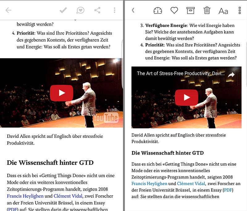 Pocket (links) und Instapaper bringen Online-Artikel auf dem Smartphone in Form.