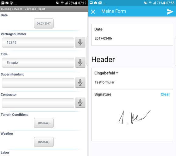 So präsentieren Mobile Forms und FormApp Formulare unterwegs, hier auf einem Android-Smartphone.