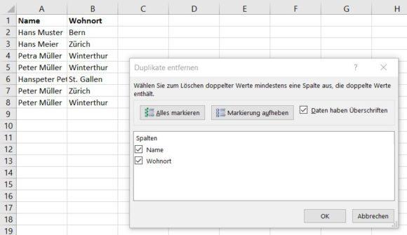 Excel doppelte Einträge löschen