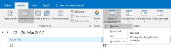 Auch Outlook-Tasks lassen sich im Kalender anzeigen.