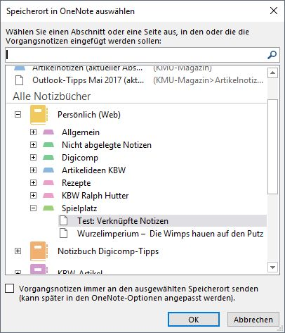 Outlook-Tasks und OneNote-Notizen