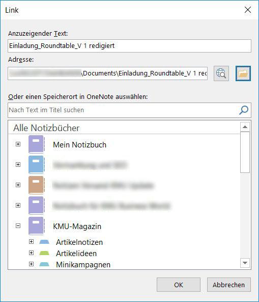 OneNote-Notiz und Link auf Datei.