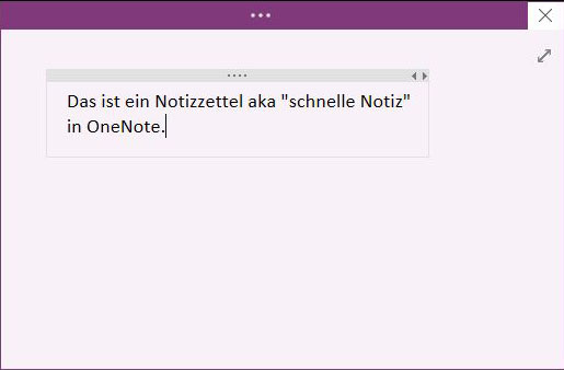 Schnelle Notizen in OneNote.