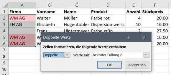 Excel Duplikate mit bedingter Formatierung anzeigen