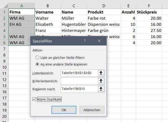Excel erweiterter Filter: Duplikate ausschliessen
