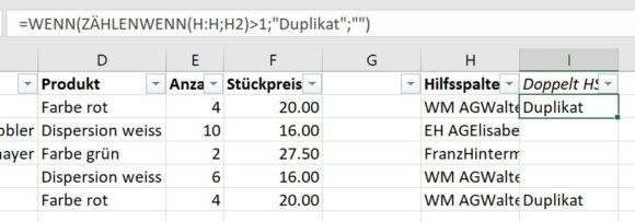Excel doppelte Einträge mit Formel finden