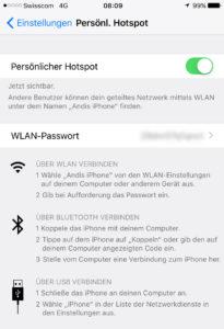 iOS Hotspot für Tethering einrichten