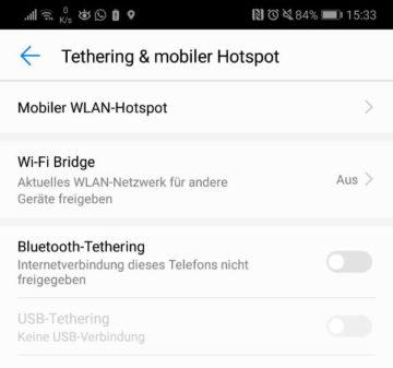 Android: Tethering und Hotspot einrichten.