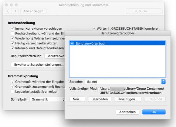 Word Benutzerwörterbücher Mac