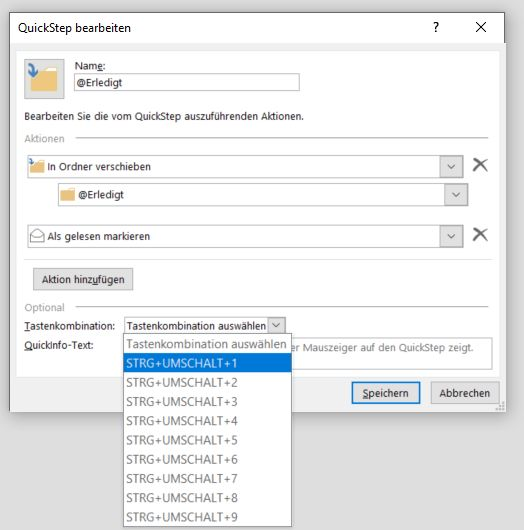 Outlook QuickSteps einrichten