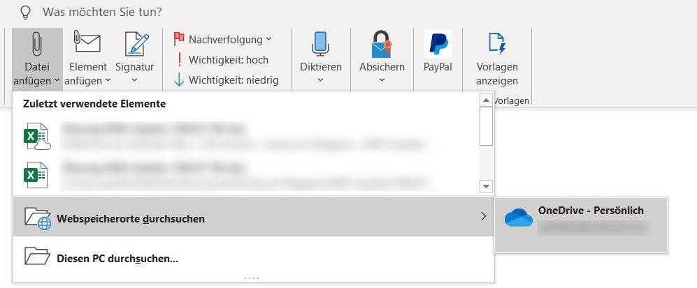 Outlook 2019: Anhänge als Link verschicken