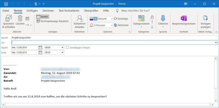 Outlook 2019: E-Mail als Termin speichern