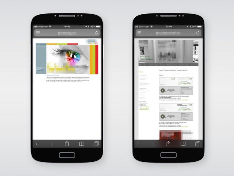 (Anonymisierte) Beispiele für nicht-optimierte und responsive Website.