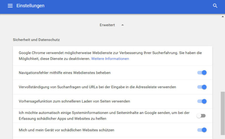 Google Chrome: Safe Browsing Einstellung