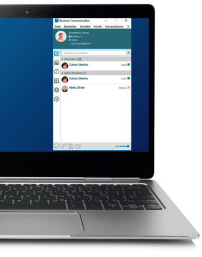 Swisscom Business Communication App: Festnetznummer auf Smartphone und PC.