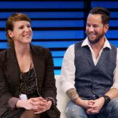 Sandra Tobler und Marc A. Trauffer im Zwiegespräch an der Swisscom Dialog Arena.