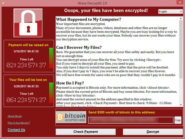 Avviso ransomware WannaCry