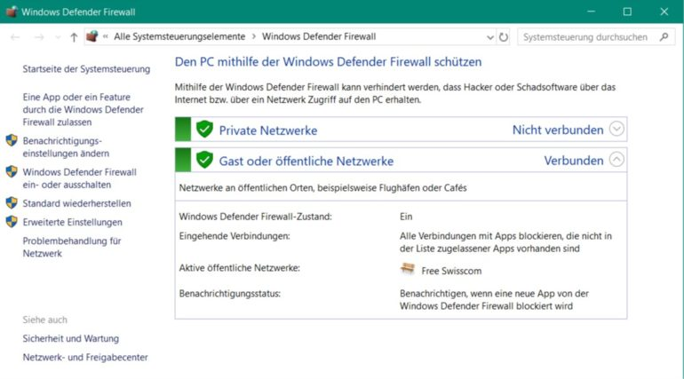 Windows 10 Firewall aktiv