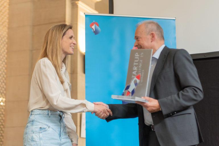 Naya Tsoukala, Gmelius, with Swisscom CEO Urs Schaeppi.