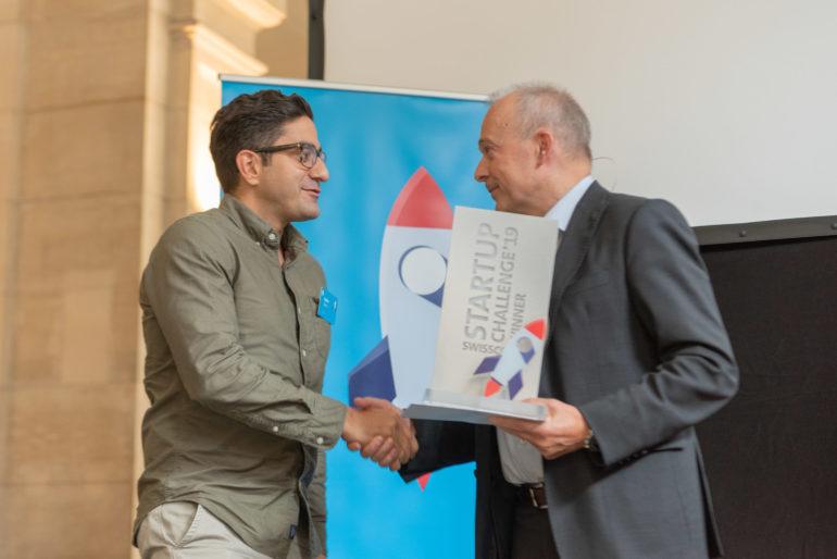 Karim Nemr, PXL Vision, with Swisscom CEO Urs Schaeppi.