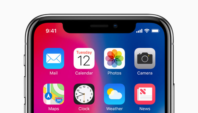 iPhone X avec «Notch»