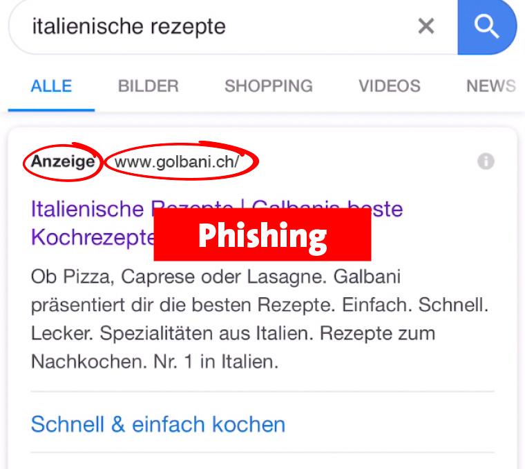 Phishing: Falsche URL