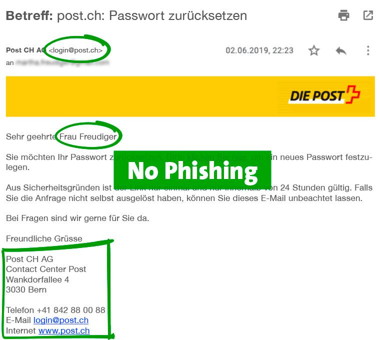 E-Mail: kein Phishing, korrekter Absender