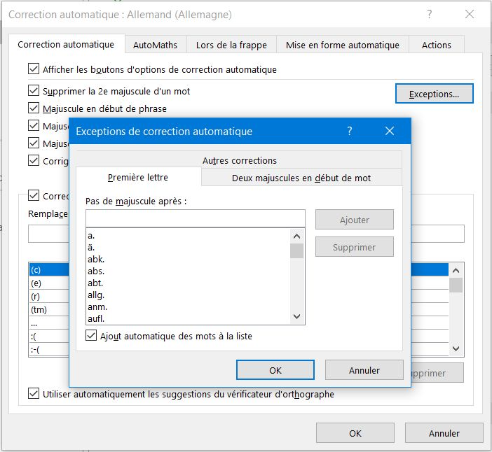 Astuces Office 365: correction automatique