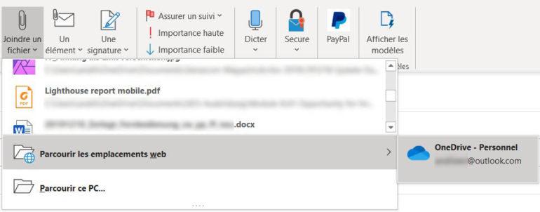 Envoyer un fichier sous forme de lien dans Outlook permet de réduire considérablement la taille de l'e-mail.