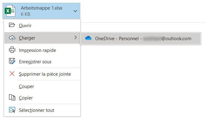 Via OneDrive, Outlook permet aussi de joindre sous forme de liens des fichiers enregistrés localement.