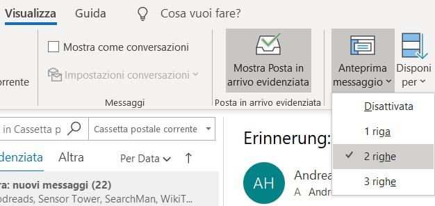 Outlook anteprima dei messagi