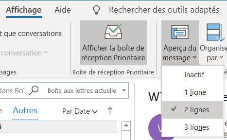 Outlook: aperçu des messages