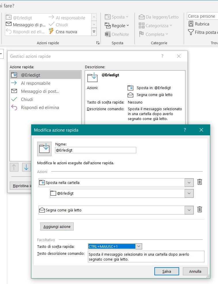 Outlook: azioni rapide