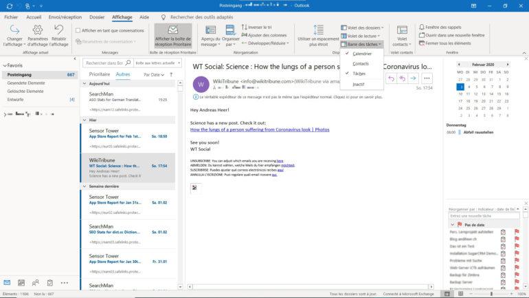 La barre des tâches d'Outlook