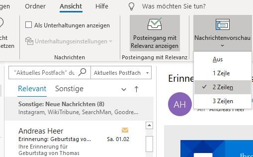Outlook: Nachrichtenvorschau