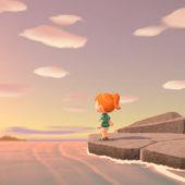 Scena del gioco: Ragazza in piedi sulla riva che guarda il mare e il tramonto