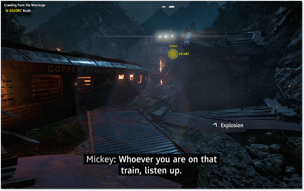 "Far Cry: New Dawn (PS4, XBOX, PC): the game offers handy ""sound subtitles"", which represent any sound effects (such as explosions) with text overlays and direction indicators. Picture: Ubisoft"
