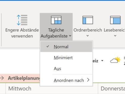 Outlook: Aufgaben im Kalender anzeigen