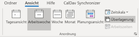 Outlook kompakte Kalenderdarstellung