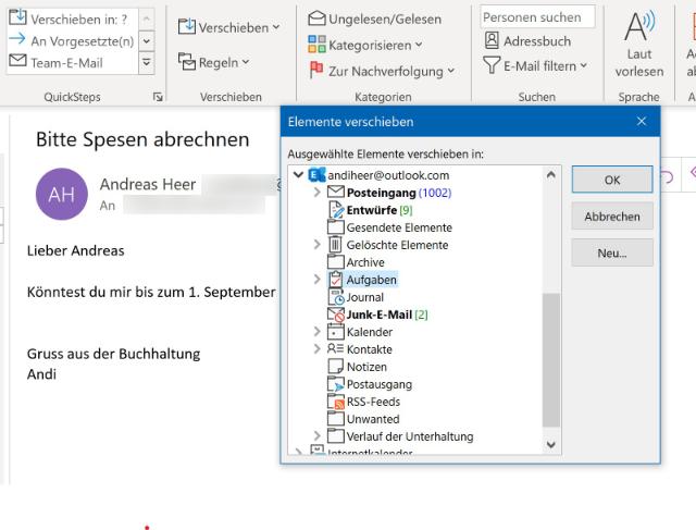 Outlook: Aufgabe aus E-Mail