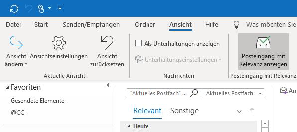 Outlook: Posteingang mit Relevanz
