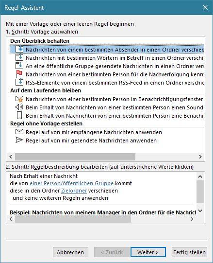 Outlook: Regel-Assistent