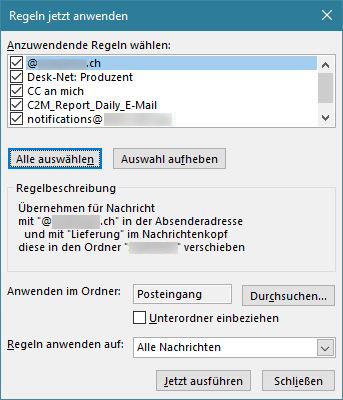Outlook: Regeln jetzt anwenden